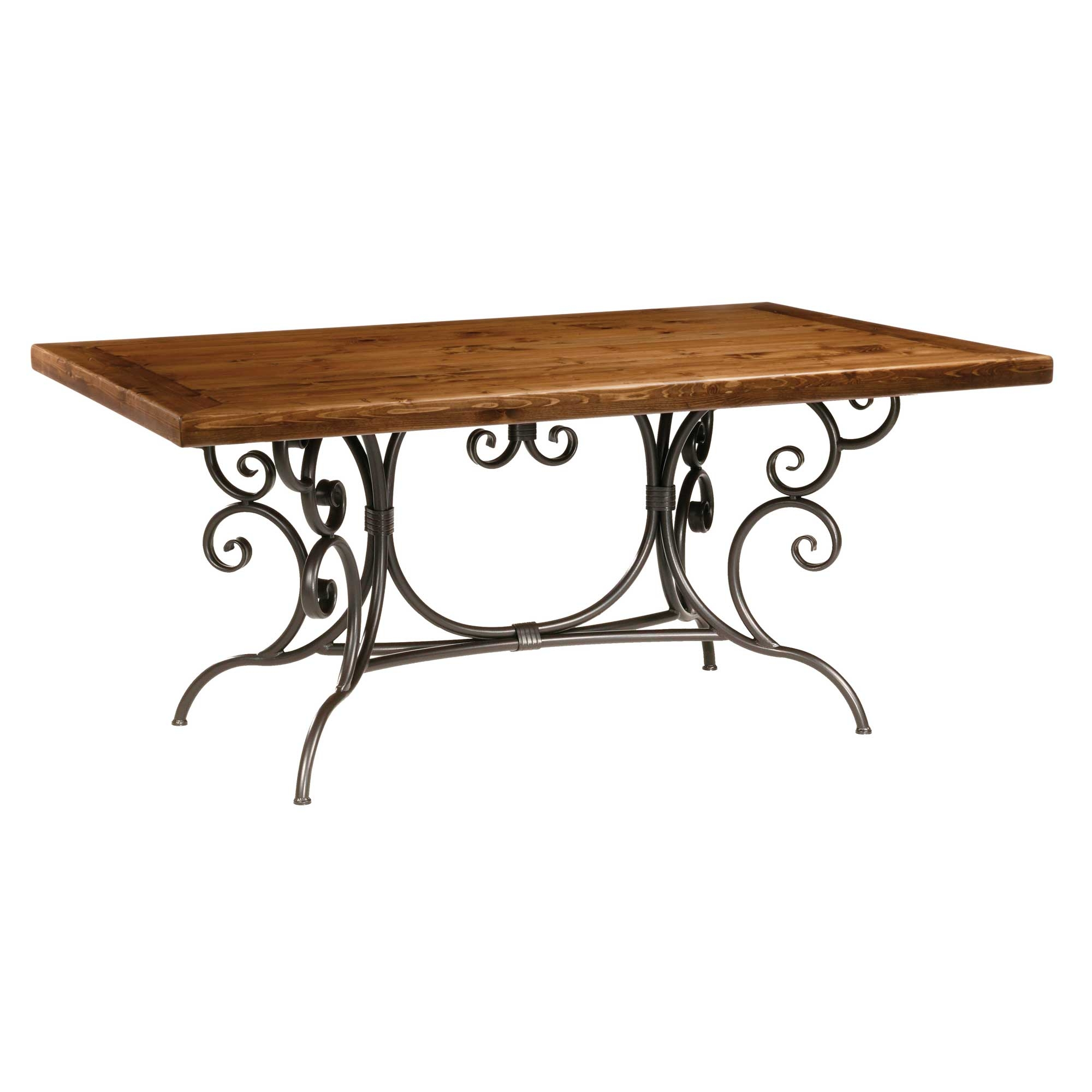 Wrought iron waterbury dining table by stone county ironworks for Ornamental centrepiece for a dining table