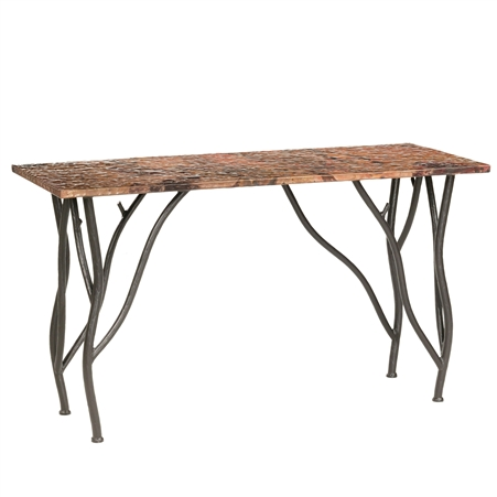 Pictured Here is the Rustic Woodland Console Table available in several custom iron finish and wood or copper table top options.