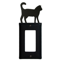 Wrought Iron Cat Single GFI Cover