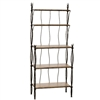 Pictured here is the wrought iron Rush Bakers Rack in natural black with wood shelves made by Stone County Ironworks