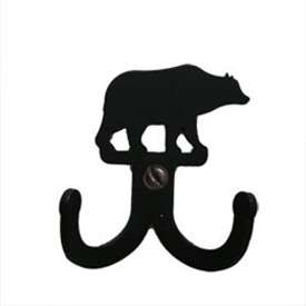 "Wrought Iron Bear Double Wall Hook (Hook Depth measures 1/2""D)"