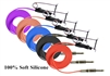<!090>6 Feet High Tension Silicone Clipcord, 100% Soft Silicone ,5 Colors