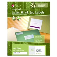 2/3 x 3 7/16 file folder recycled labels, white