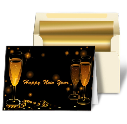 3d custom greeting card with gold champagne confetti and streamers for a happy new year flip