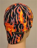 Welder hats with orange red and blue flames.