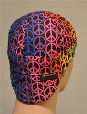 Colorful welding hat or cap with a peace signs colorful design.