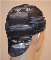 cloudy dark skies welding cap or hat navy blue inside color