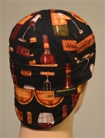 Welding cap or hat wine print w/ wine bottles and corks.