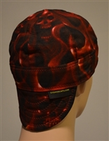 welding cap skulls on fire red smokey background of fear and horror
