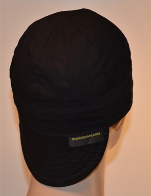 Black welders hats plain solid color.