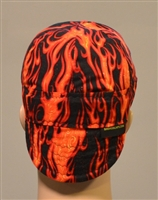Welding hat or cap red and orange flames.