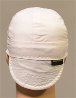 White skull cap or solid white welders cap