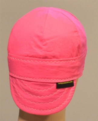 Pink welding hats or caps support breast cancer awareness.