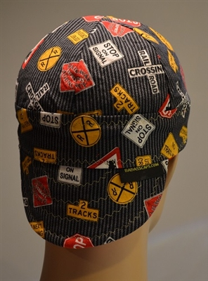 railroad welder cap with train signs