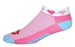 Hearts Socks - red/white