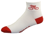 Bicycle Socks - white w/red