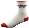 "Bicycle Socks 5"" - white/red"