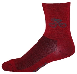 "Bicycle Wooly-G 5"" cuff Socks - red"