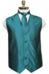 Solid tone on tone with fine specs pattern vest and tie with hanky