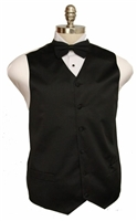 Solid formal satin vest with bowtie