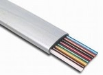 Flat Telephone Cable, 8 Conductor, Silver Satin Color, 100 Feet. Item# 14-TEL08C-SS-0100