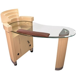 Siyu Manicure Table - Glass Top with Wood Base (HZ-AG)