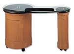 Aiguo Manicure Table - Glass Marble & Wood (GGM)