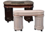 Hui Rounded Manicure Table - Marble Top with Wood Base (MGM)