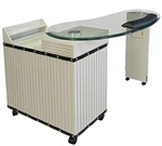 Jiao Manicure Table - Glass Top with Wood Base (KG)