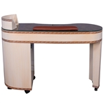 Meili Manicure Table - Glass Top with Wood Base (HZ-SG)