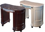 Quon Manicure Table Compact - Marble Top with Wood Base (MINIZM)