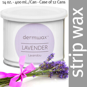 Dermwax Lavender - Lavandou Wax Strip Wax 14 oz. - 400 mL. per Can - Case of 12 Cans (D1007 X 12)