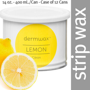 Dermwax Lemon - Citron Wax Strip Wax 14 oz. - 400 mL. per Can - Case of 12 Cans (D1005 X 12)