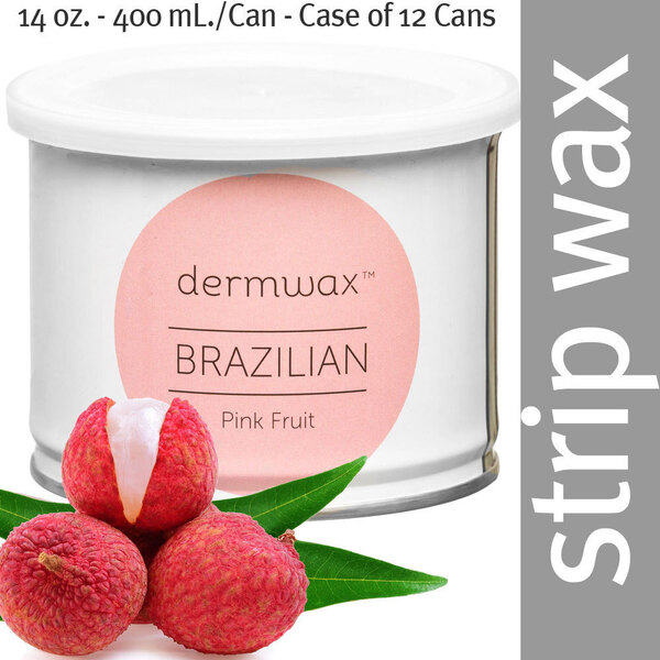 Dermwax Brazilian Pink Fruit Wax Strip Wax 14 oz. - 400 mL. per Can - Case of 12 Cans (D1008 X 12)
