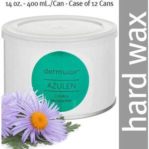 Dermwax Azulen - Cerablue Wax Pot Stripless Hard Wax 14 oz. - 400 mL. per Can - Case of 12 Cans (D1013 X 12)