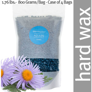 Dermwax Azulen - Cerablue Wax Beads Stripless Hard Wax 1.76 lbs.- 800 Grams per Bag - Case of 4 Bags (D2030 X 4)