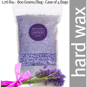 Dermwax Lavender - Lavandou Wax Beads Stripless Hard Wax 1.76 lbs.- 800 Grams per Bag - Case of 4 Bags (D2020 X 4)