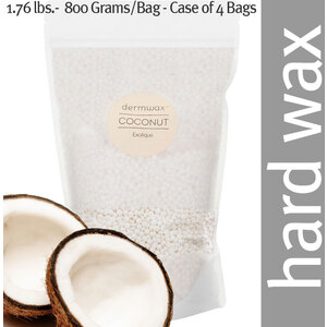 Dermwax Coconut - Exotique Wax Beads Stripless Hard Wax 1.76 lbs.- 800 Grams per Bag - Case of 4 Bags (D2000 X 4)