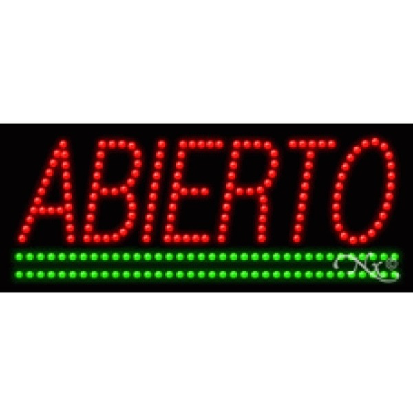"LED Sign - Abierto 11""H x 27""W x 1""D (20003)"