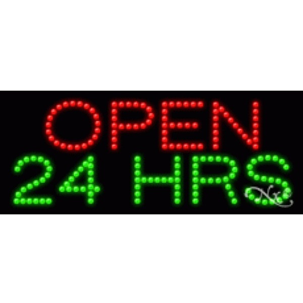 "LED Sign - Open 24 Hrs 11""H x 27""W x 1""D (20004)"