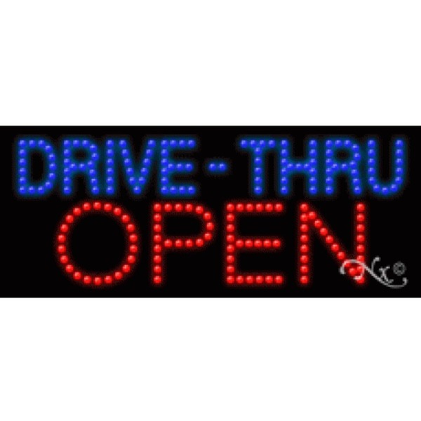 "LED Sign - Drive Thru Open 11""H x 27""W x 1""D (20005)"