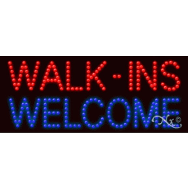 "LED Sign - Walk ins Welcome 11""H x 27""W x 1""D (20174)"