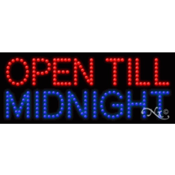 "LED Sign - Open Till Midnight 11""H x 27""W x 1""D (20602)"