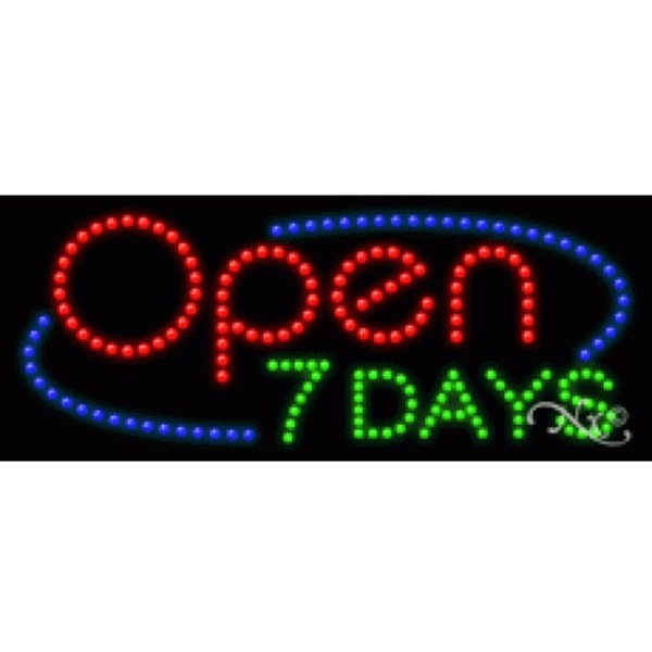 "LED Sign - Open 7 Days 11""H x 27""W x 1""D (20857)"