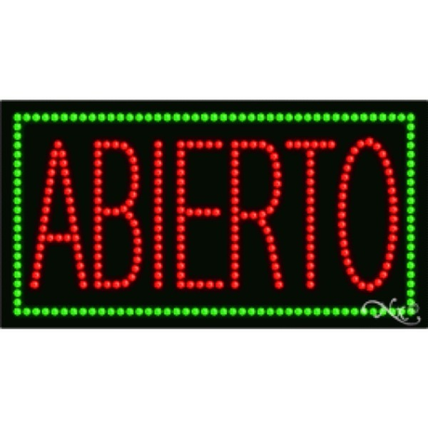 "LED Sign - Abierto 17""H x 32""W x 1""D (21044)"