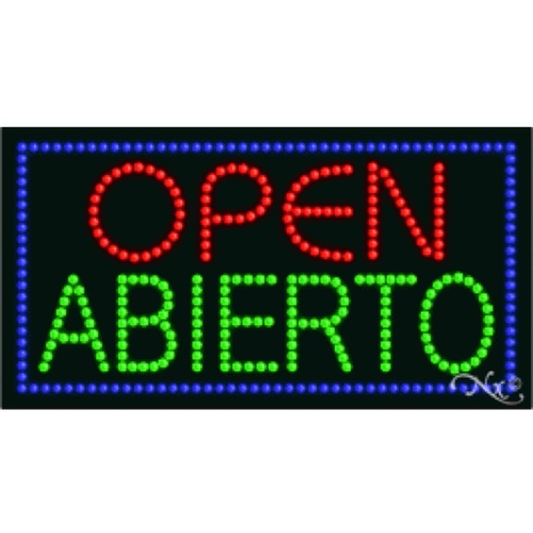 "LED Sign - Open Abierto 17""H x 32""W x 1""D (21045)"