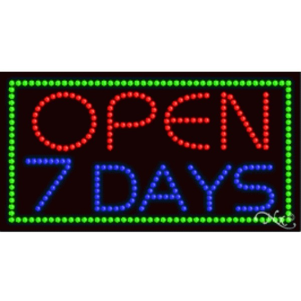 "LED Sign - Open 7 Days 17""H x 32""W x 1""D (21103)"