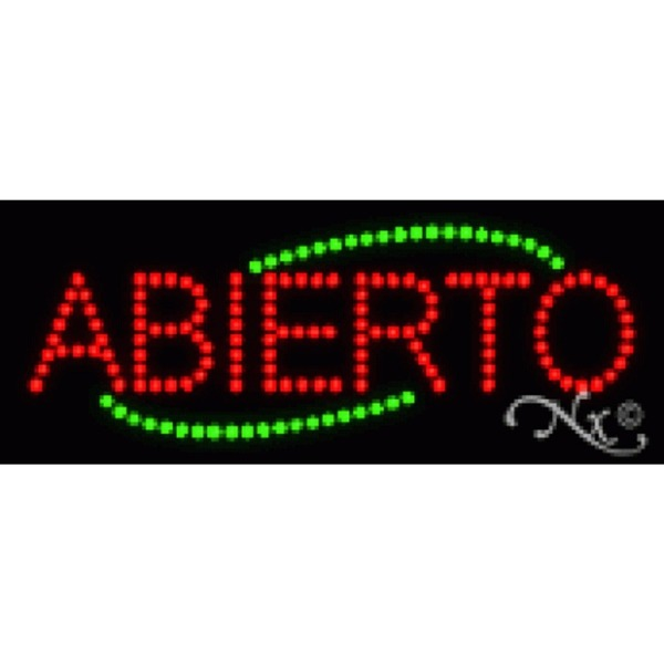 "LED Sign - Abierto 8""H x 20""W x 1""D (22001)"
