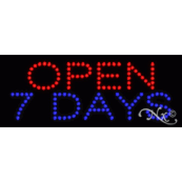 "LED Sign - Open 7 Days 8""H x 20""W x 1""D (22120)"