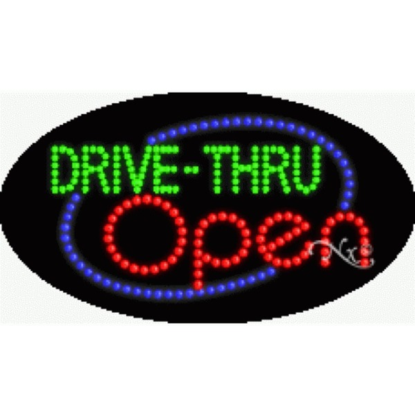 "LED Sign - Drive Thru Open 15""H x 27""W x 1""D (24115)"